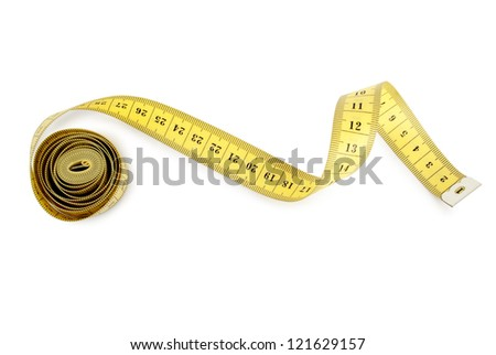 Curled measuring tape - stock photo
