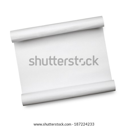 curled paper on white background - stock photo