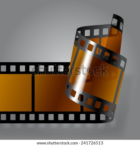 Curled photo film strip on gray background. Movies concept. Contain the Clipping Path - stock photo