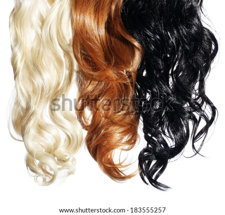 Curly Hair isolated in white. Palette. Colors Set. Tints - stock photo