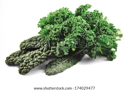 Curly Kale and Tuscan Kale - stock photo