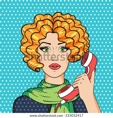 Curly redhead girl talking on the phone pop art comic style illustration, vintage redhead woman on phone in green scarf. - stock photo