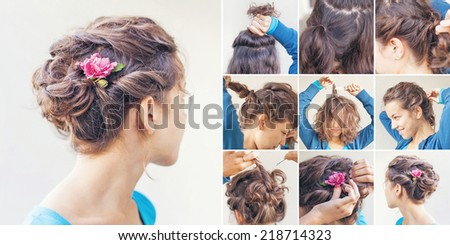 curly updo tutorial by beauty blogger - stock photo