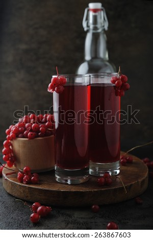 Currant berries and fresh homemade drink - stock photo