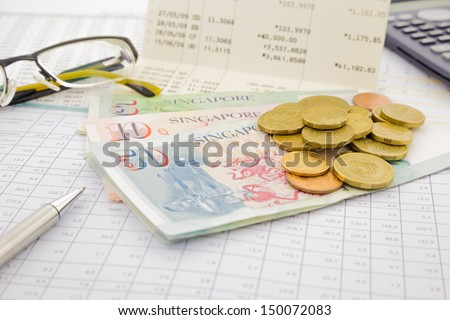 currency and paper money of Singapore, saving account and money concept - stock photo