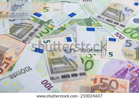Currency Concept: Incoherent Heap of European Banknotes Currency. Horizontal Image - stock photo