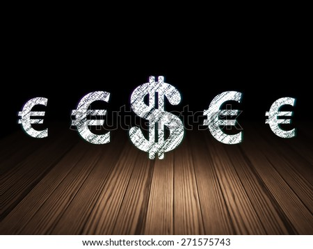 Currency concept: row of Glowing euro icons around dollar icon in grunge dark room Wooden Floor, dark background, 3d render - stock photo