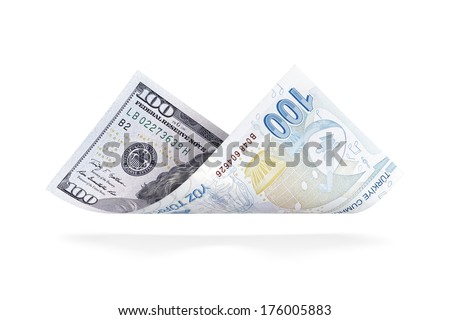 Currency Conversion, U.S. one hundred dollar to the Turkish one hundred lira - stock photo