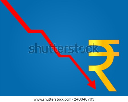 Currency Crisis Indian Rupee - stock photo