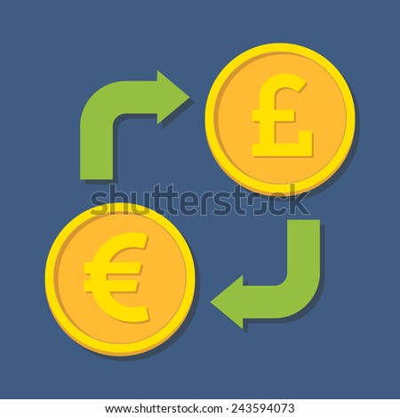 Currency exchange. Euro and Pound Sterling.  - stock photo