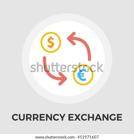 Currency exchange flat icon isolated on the white background. - stock photo