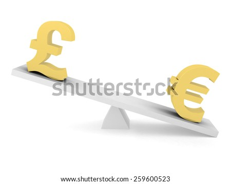 Currency Exchange Rate Concept - Pound above Euro on Balancing Beam - stock photo