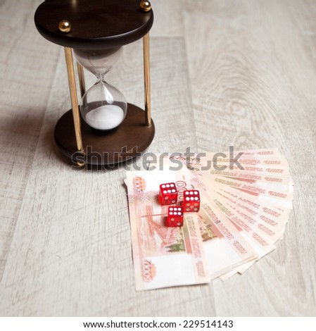 currency exchange rate, hourglass, winnings - stock photo