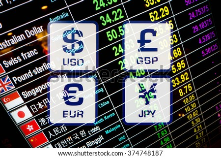 currency exchange rate icons signs on digital display board - stock photo