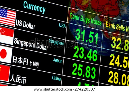currency exchange rate on digital LED display board in global background - stock photo