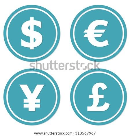 Currency icons set. Dollar, euro, yen and pound symbols.  - stock photo