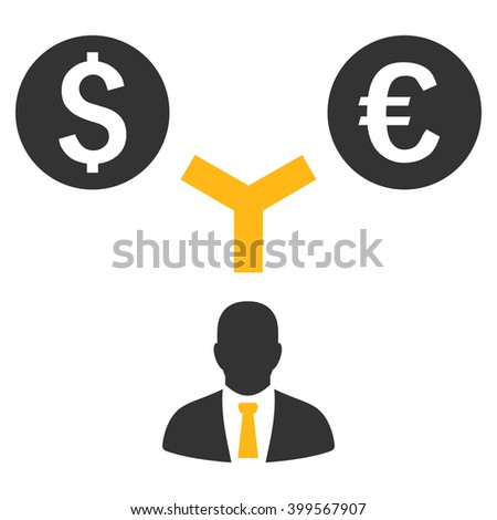 Currency Management glyph icon. Style is flat symbol, yellow color, white background. - stock photo