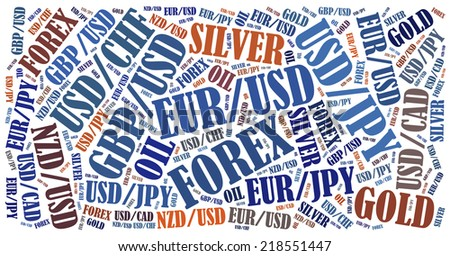 Currency pairs tradable on forex or fx market. Word cloud illustration. - stock photo
