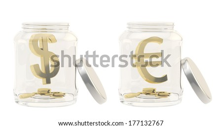 Currency sign with a multiple coins in a glass jar isolated over white background, set of two images, euro and dollar signs - stock photo