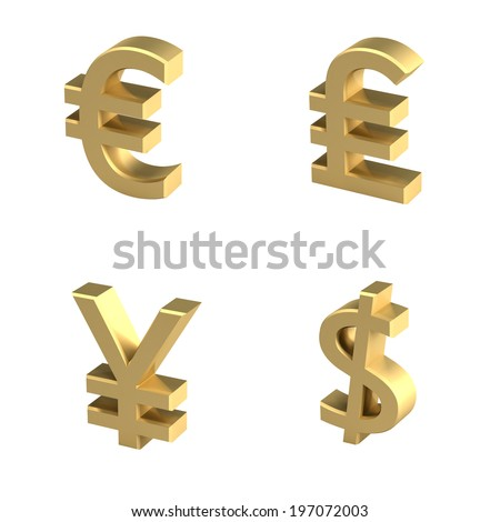 Currency symbols outwith shadow - stock photo