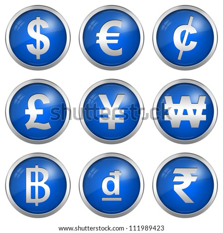 Currency Symbols Present By Circle Glossy Blue Icon With Silver Border Plate Isolated on White Background - stock photo