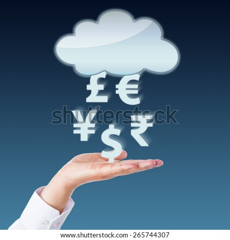 Currency symbols transferring between an open hand and a blank cloud computing icon. Yen, Pound, Euro, Rupee and Dollar signs floating in mid-air above the left palm of a business person. Close up. - stock photo