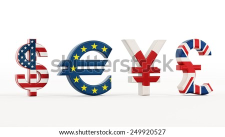 Currency symbols with country flags isolated on white. - stock photo