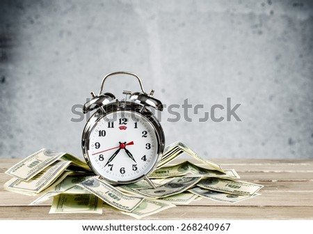 Currency, Time, Clock. - stock photo