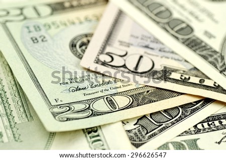Currency, US Paper Currency, Dollar Sign. - stock photo