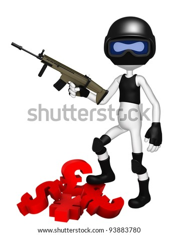 Currency wars. SWAT police officer with currency symbols - stock photo