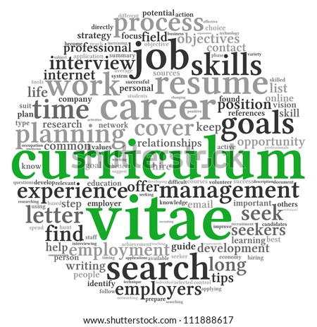 Curriculum vitae CV concept in word tag cloud on white background - stock photo