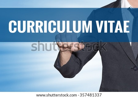 Curriculum Vitae word Business man touching on blue virtual screen - stock photo