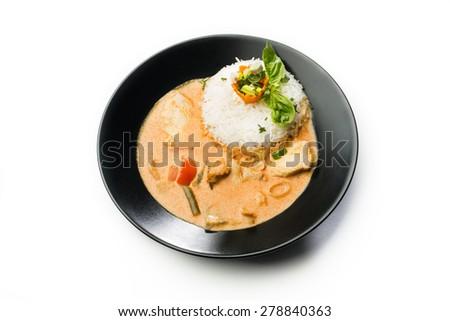 Curry rojo con pollo  - stock photo