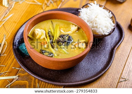 Curry with chicken and rice - stock photo