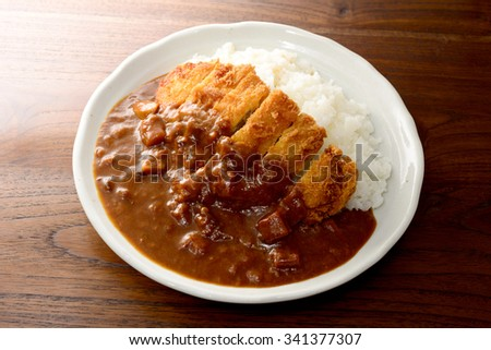 curry with pork cutlet - stock photo