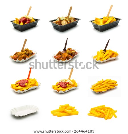 currywurst (sausage) and french fries with onions and sauces set collage  - stock photo