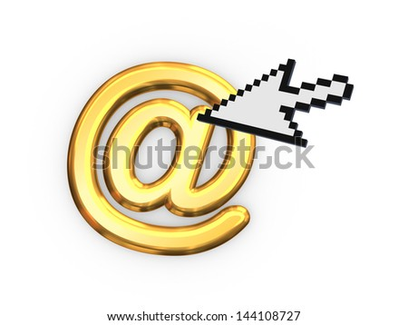 Cursor and AT symbol.Isolated on white.3d rendered. - stock photo