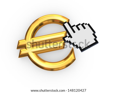 Cursor and symbol of euro.Isolated on white.3d rendered. - stock photo