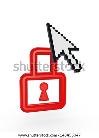 Cursor and symbol of lock.Isolated on white.3d rendered. - stock photo