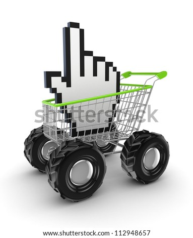 Cursor in a shopping trolley.Isolated on white background.3d rendered. - stock photo