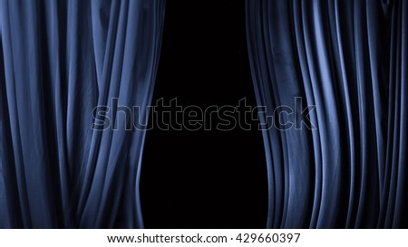 curtain in a theater of blue - stock photo