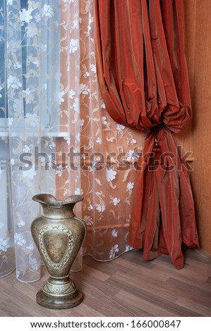 Curtain in the modern apartment  - stock photo