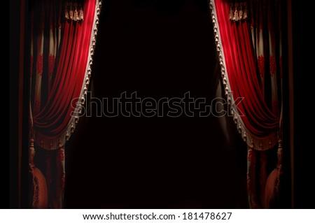 Curtain on stage with space for copy - stock photo