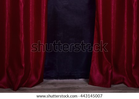 curtain open red dark black dirty floor board parquet - stock photo
