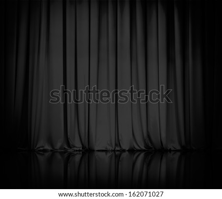 curtain or drapes black background - stock photo