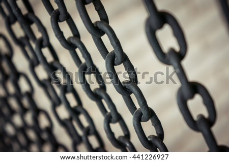 Curtain rusty chains - stock photo