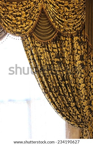 Curtain with complex pattern texture background. Right part. - stock photo