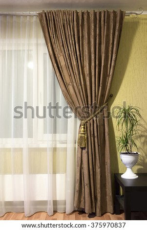Curtains in the living room - stock photo