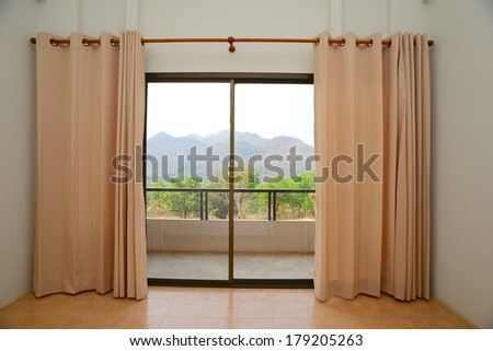Curtains interior - stock photo