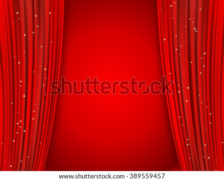 curtains on red background with glittering stars - stock photo